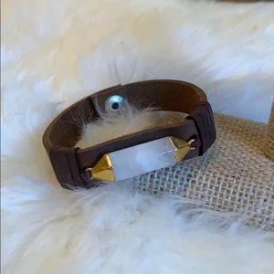 Leather & Quartz bracelet
